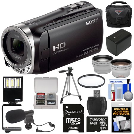 Sony Handycam HDR-CX455 8GB Wi-Fi HD Video Camera Camcorder with 64GB Card + Battery + Case + Tripod + LED Light + Microphone + Tele/Wide Lens