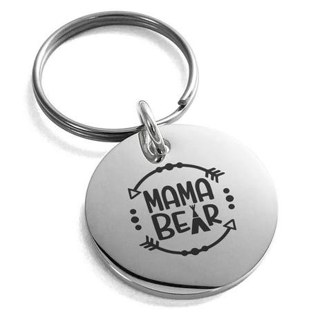 Stainless Steel Mama Bear Small Medallion Circle Charm Keychain Keyring (Medallion Keychain Holder)