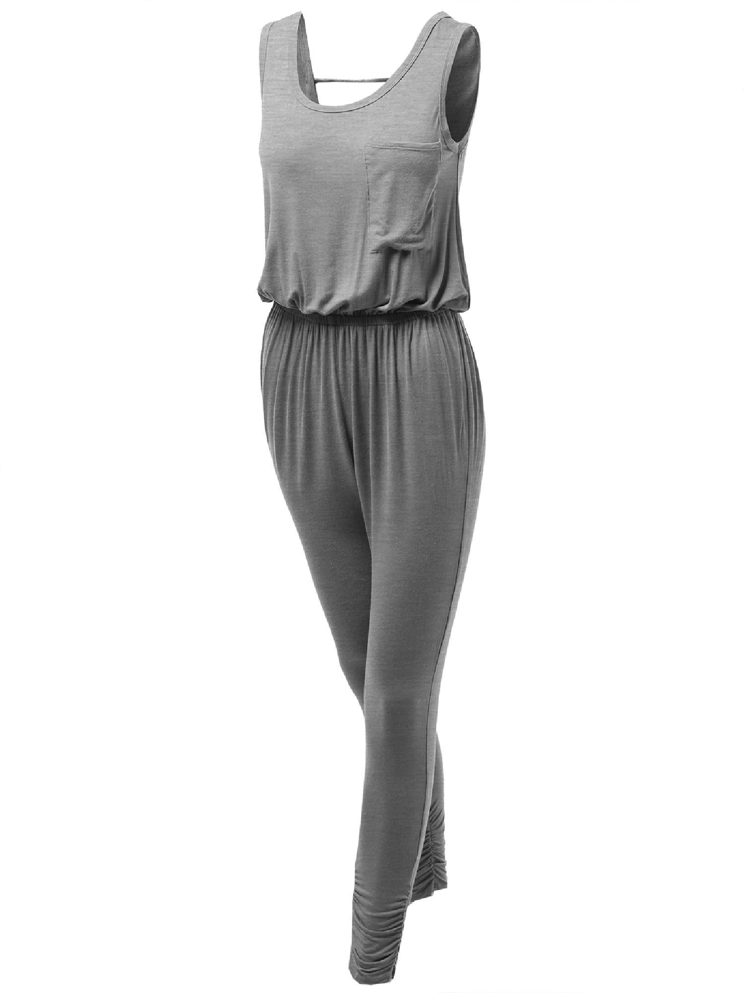 4333a1fdd48 FashionOutfit - FashionOutfit Women s Slim Fit Tank Shirring Detailed Jumpsuit  Rompers - Walmart.com