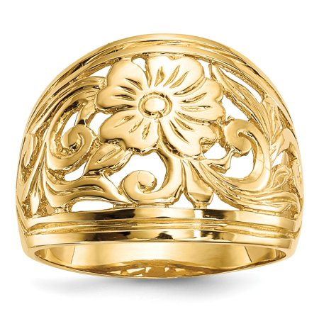 Mia Diamonds 14k Yellow Gold Polished Floral Ring