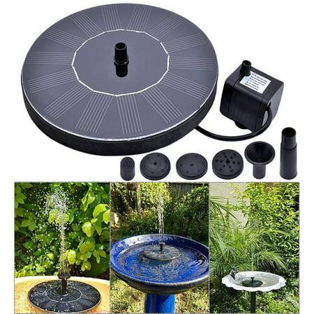 Solar Fountain Pump Bird Bath,Portable Submersible Free Standing Solar Outdoor Fountain for Small Pond, Patio Garden