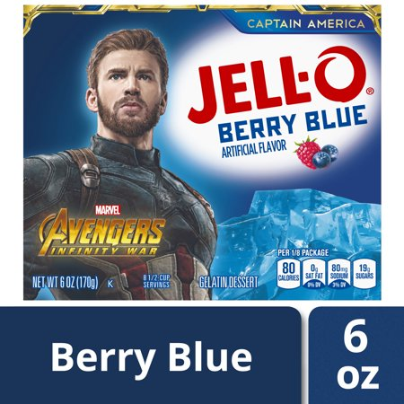 (3 Pack) Jell-O Berry Blue Instant Powdered Gelatin Dessert, 6 oz Box - Jello Pudding Halloween Desserts