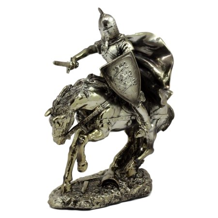 - Ebros Gift Medieval Royal Arms Of England Three Lions Charging Knight On Calvary Horse Figurine 8.5