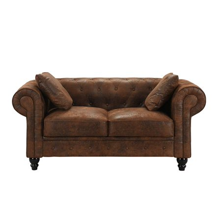 Large Chesterfield Tufted Faux Suede Loveseat Sofa, Scroll Arm Distressed Couch (Dark Brown) ()