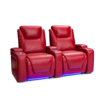 Seatcraft Equinox Leather Home Theater Seating Recline With Ed Headrest And Lumbar Support Red Row