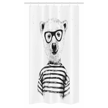 Animal Stall Shower Curtain, Dressed Up Hipster Nerd Smart Male Bear in Glasses Fun Character Animal Art Print, Fabric Bathroom Set with Hooks, 36W X 72L Inches Long, Black White, by Ambesonne](Fun Movie Characters To Dress Up As)