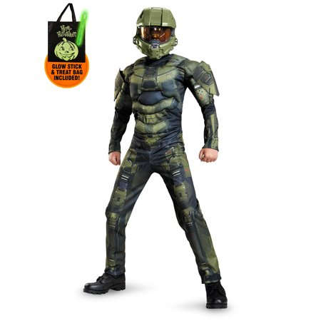 Halo Master Chief Classic Muscle Chest Costume Boys for Kids Treat Safety Kit - Halo Master Chief Child Costume