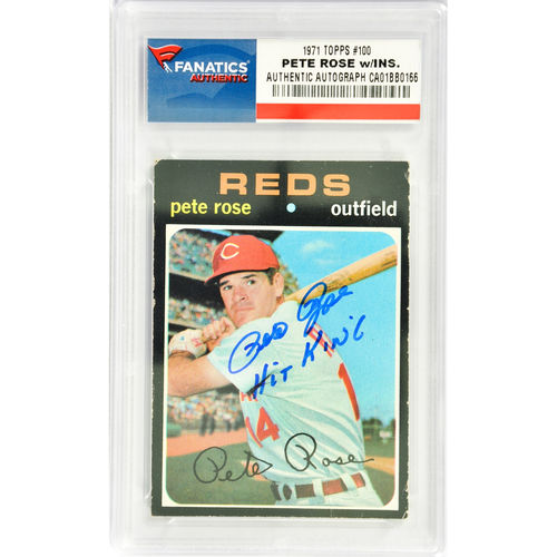 Pete Rose Cincinnati Reds Autographed 1971 Topps #100 Card with Hit King Inscription