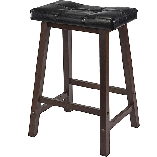 Winsome Mona 24  Cushion Saddle Stool in Antique Walnut  sc 1 st  Walmart & Winsome Mona 24