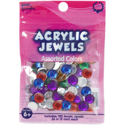 Kids Craft Acrylic Stones, 9mm, Assorted Colors