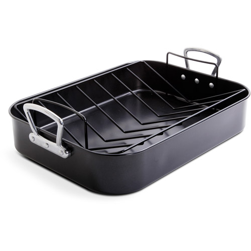 Gibson Home French Roaster 2-Piece Turkey Roaster and V Rack, Black