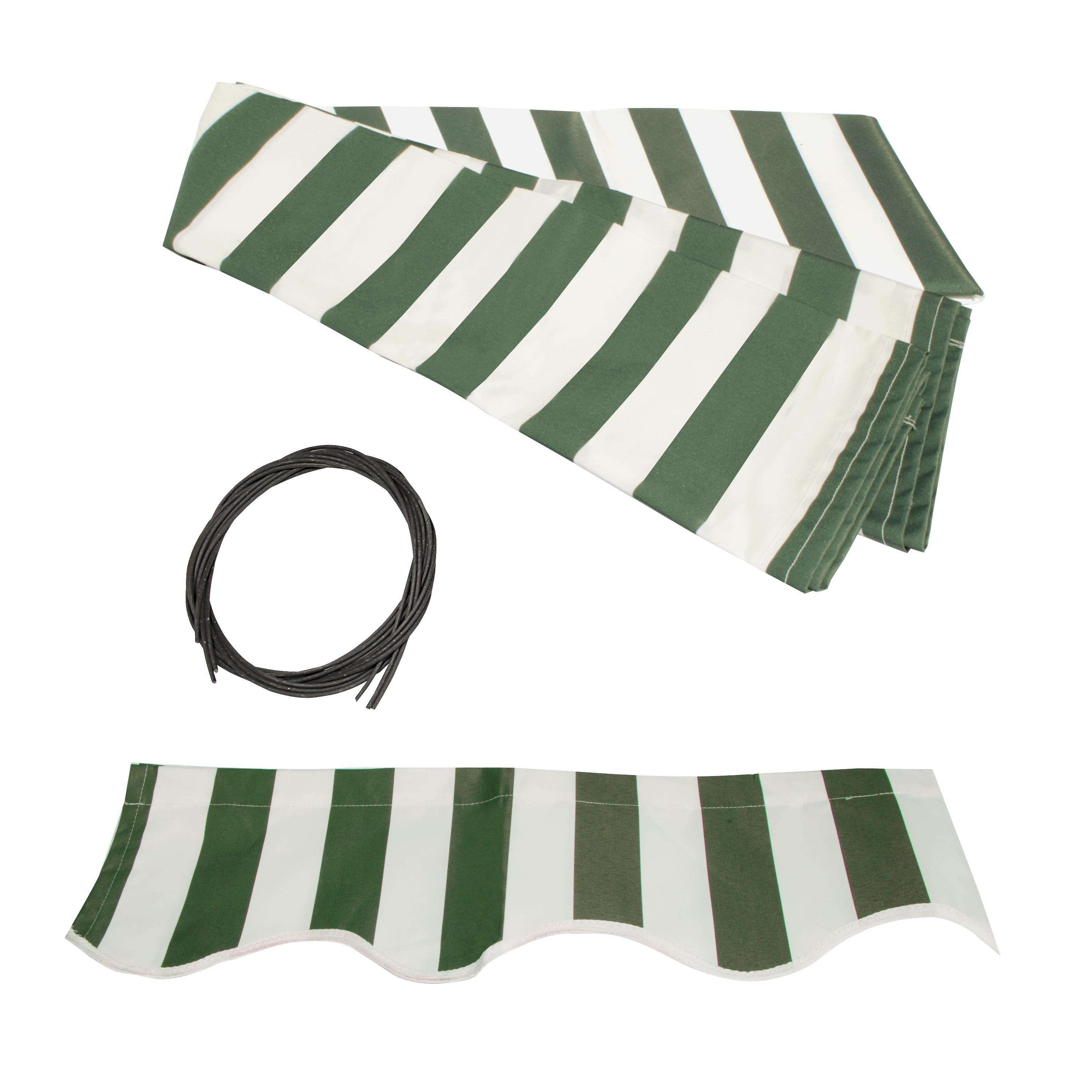 ALEKO 12'x10' Retractable Awning Fabric Replacement, Green and White Striped Color