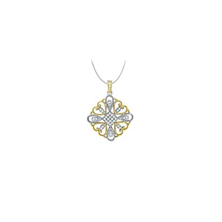 Diamond square pendant in Two Tone 14K Gold 0.33 CT TDWJewelry Gift for Women - image 2 de 2
