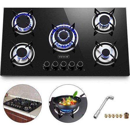 VEVOR 36x21 inches Built in Gas Cooktop 5 Burners Gas Stove Cooktop Tempered Glass Cooktop Gas Hob With Liquid Propane Conversion Kit Thermocouple