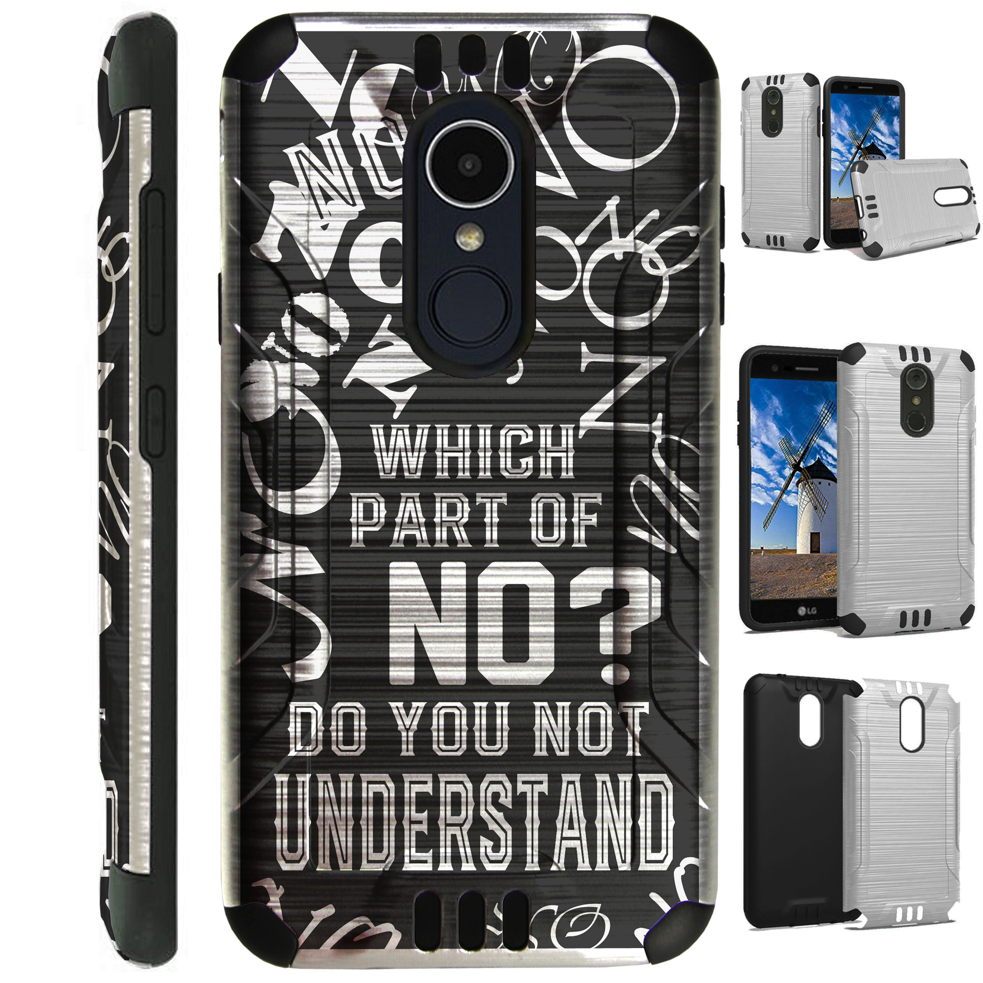 For LG Stylo 3 | LG Stylo 3 Plus Case Brushed Metal Texture Hybrid TPU Silver Guard Phone Cover (Do You Not Understand)