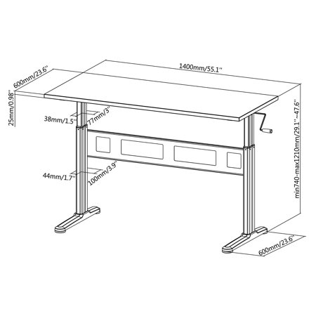 Liveart (TM) Manual Sit to Stand Height Adjustable Desk