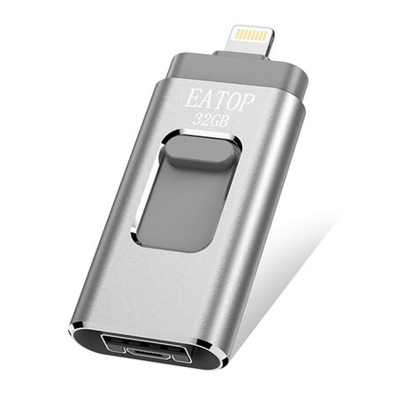 - iOS Flash Drive 32GB iPhone Memory Stick, EATOP INC Thumb Drive USB 3.0 Memory Stick External Memory Storage Compatible with iPhone, iPad, iPod, Mac, Android and Computers (Silver)