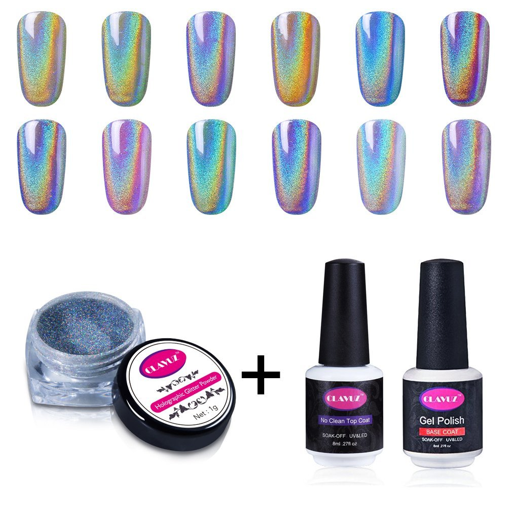 CLAVUZ 1g/Box Laser Holographic Nail Powder Rainbow Chrome Nail Powder Manicure Pigment Nail Art Tool Set