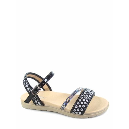Buckle Gladiator Sandal (Honey-3K Link Youth Girl's Bling Gladiator Buckles Flat Heel Sandal)