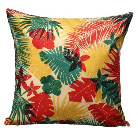 Tropical Hawaii 18'' Square Home Cotton Linen Car Office Sofa Bed Decor Waist Comfortable Cushion Pillow Case Cover (Hawaiian Linen)