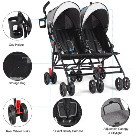 Baby-joy Foldable Twin Baby Double Stroller Kids ...
