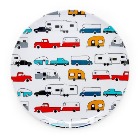 Camco Large Dinner Plate - Fun Retro, RV, Camper and Trailer Designs, Microwavable, Dishwasher Safe, and BPA Free (White, Multi) (53224) (Fun Rv Accessories)