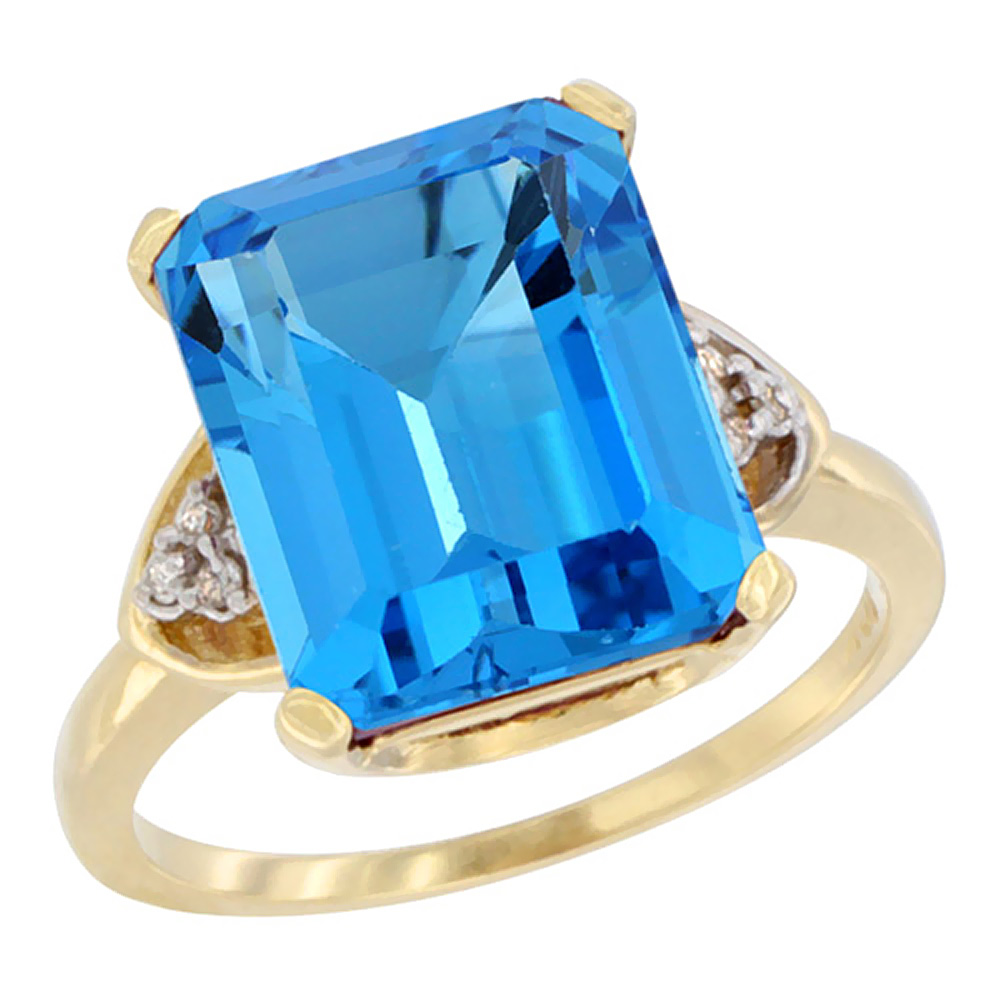 10K Yellow Gold Natural Swiss Blue Topaz Ring Octagon 12x10mm Diamond Accent, sizes 5-10 by WorldJewels