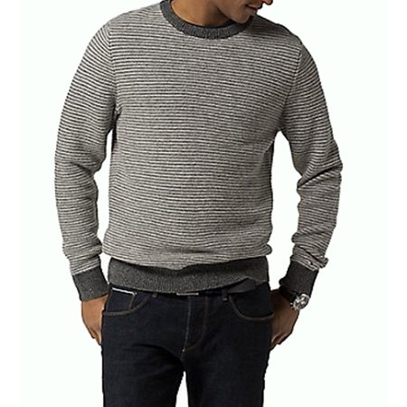 Tommy Hilfiger NEW Gray Mens Size 2XL Striped Crewneck Wool Sweater
