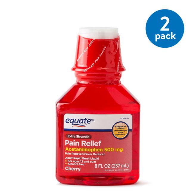 (2 Pack) Equate Extra Strength Acetaminophen Cherry Flavor, 500 mg, 8 Oz