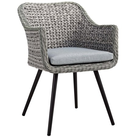 Modern Contemporary Urban Outdoor Patio Balcony Garden Furniture Side Dining Chair Armchair, Rattan Wicker Aluminum Metal, Grey Gray ()