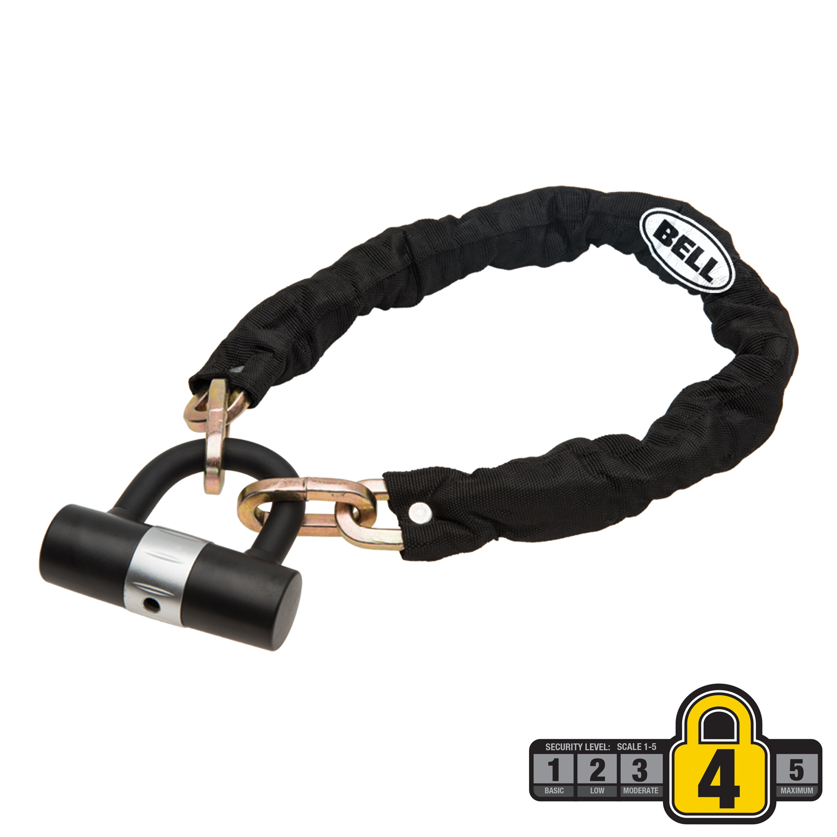 Bell Sports RAMPAGE 300 3' Chain/Mini U-Lock Bicycle Lock Set, Security Level 4, Black