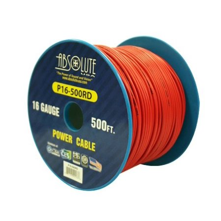 absolute usa p16-500rd 16 gauge 500-feet spool primary power wire cable (red) ()