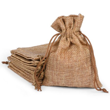 Natural Brown Paper Bag (25/50/100x Burlap Wedding Favor Bags Natural Line Jewelry Pouches Jute Gift Bag - Natural - 25 Pcs -)