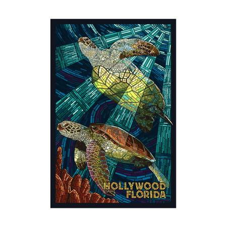 Hollywood, Florida - Sea Turtle Mosaic Print Wall Art By Lantern Press - Mosaic Turtle