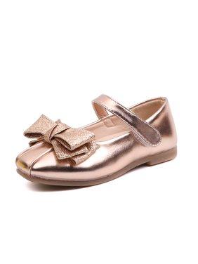 KidPika Kids Bling Sequins Bownot Princess Shoes Children Girls Flat Party Dress Dance Shoes