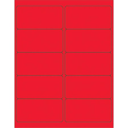 Box Partners LL178RD 4 x 2 in. Fluorescent Red Rectangle Laser Labels - Pack of 1000