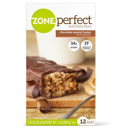 ZonePerfect Nutrition Snack Bar, Chocolate Peanut Butter, 14g Protein, 12 Ct