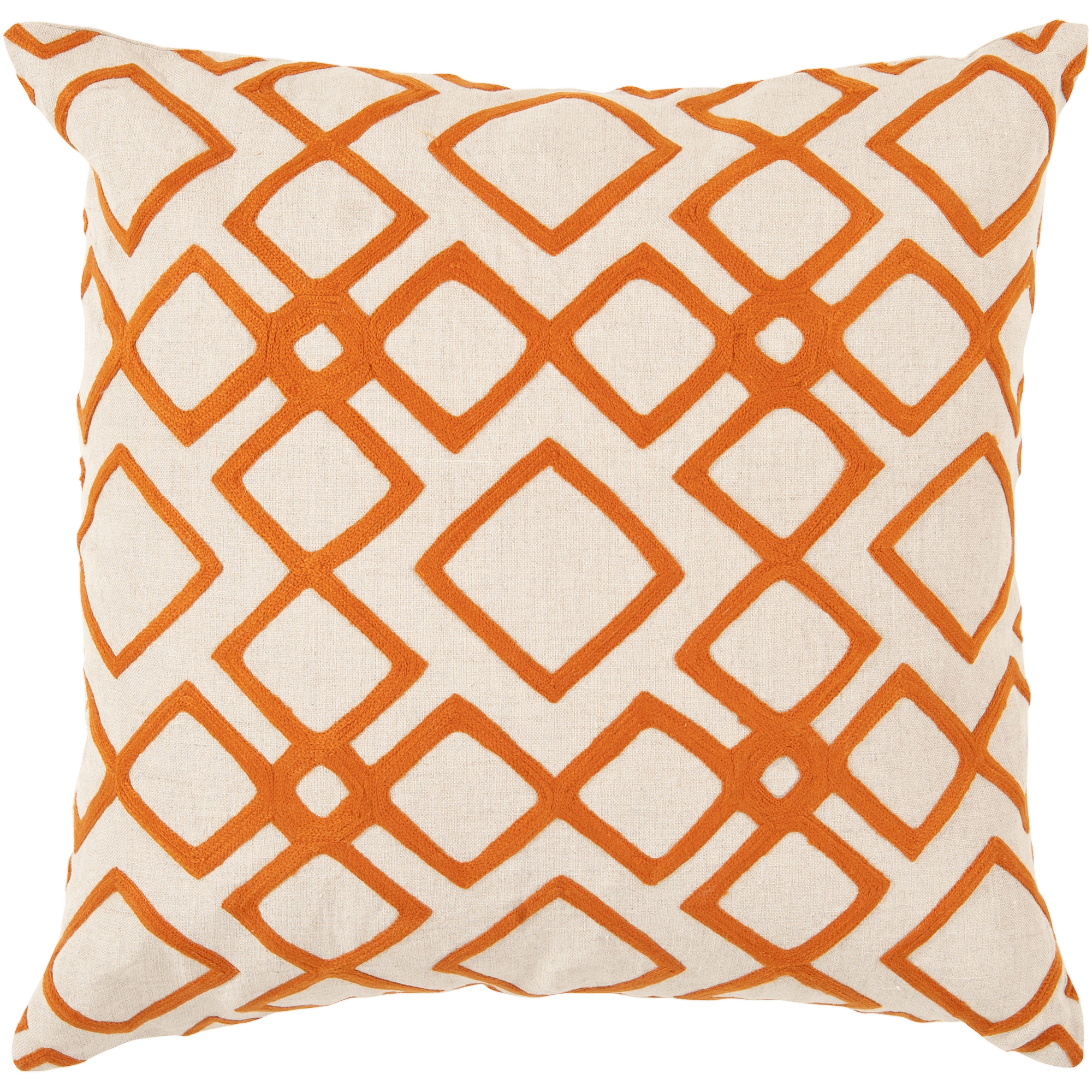 Art of Knot Beaumont Hand Crafted Wool Embroidery Linen Decorative Pillow with Poly Filler, Orange