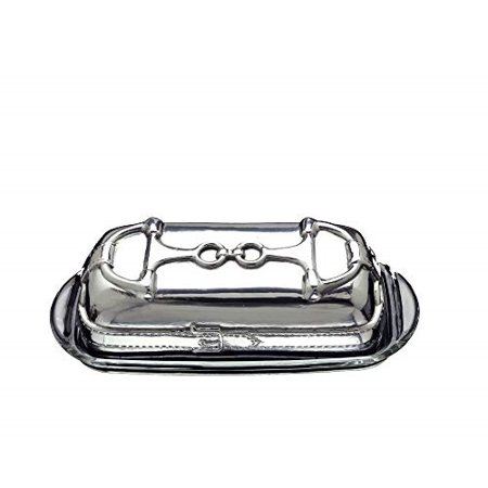 Arthur Court Designs Aluminum Equestrian Covered Butter Cream Cheese Dish with glass dish