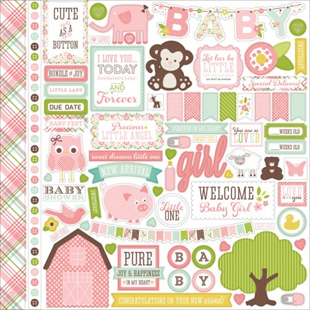"""Bundle Of Joy/A New Addition Cardstock Stickers 12""""X12""""-Baby Girl, Element"""