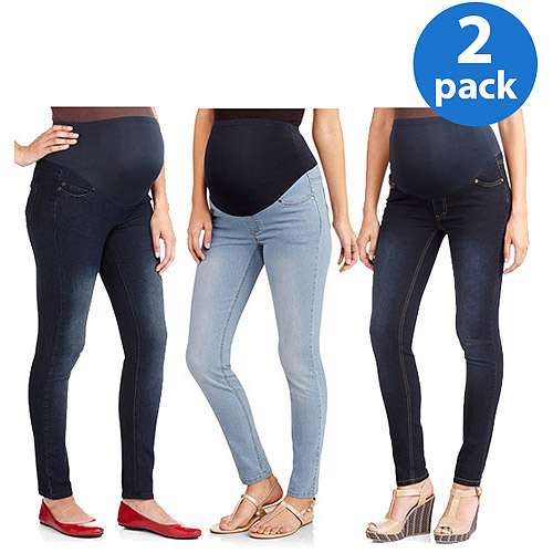 Oh! Mamma Maternity Full-Panel Super Soft Skinny Jeans, 2-Pack Value Bundle