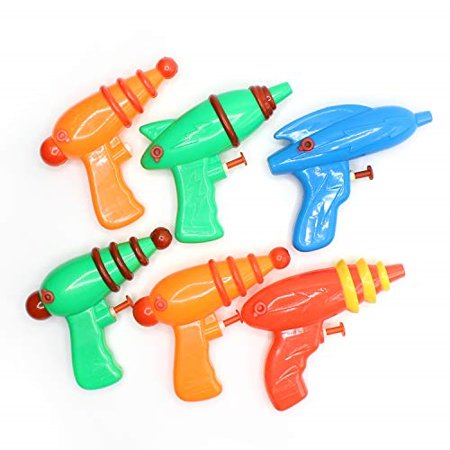 Kidsco Space Squirt Water Guns 5 Inches - Pack of 6 - Assorted Colors and Shapes Water Squirters for Kids Great Party Favors