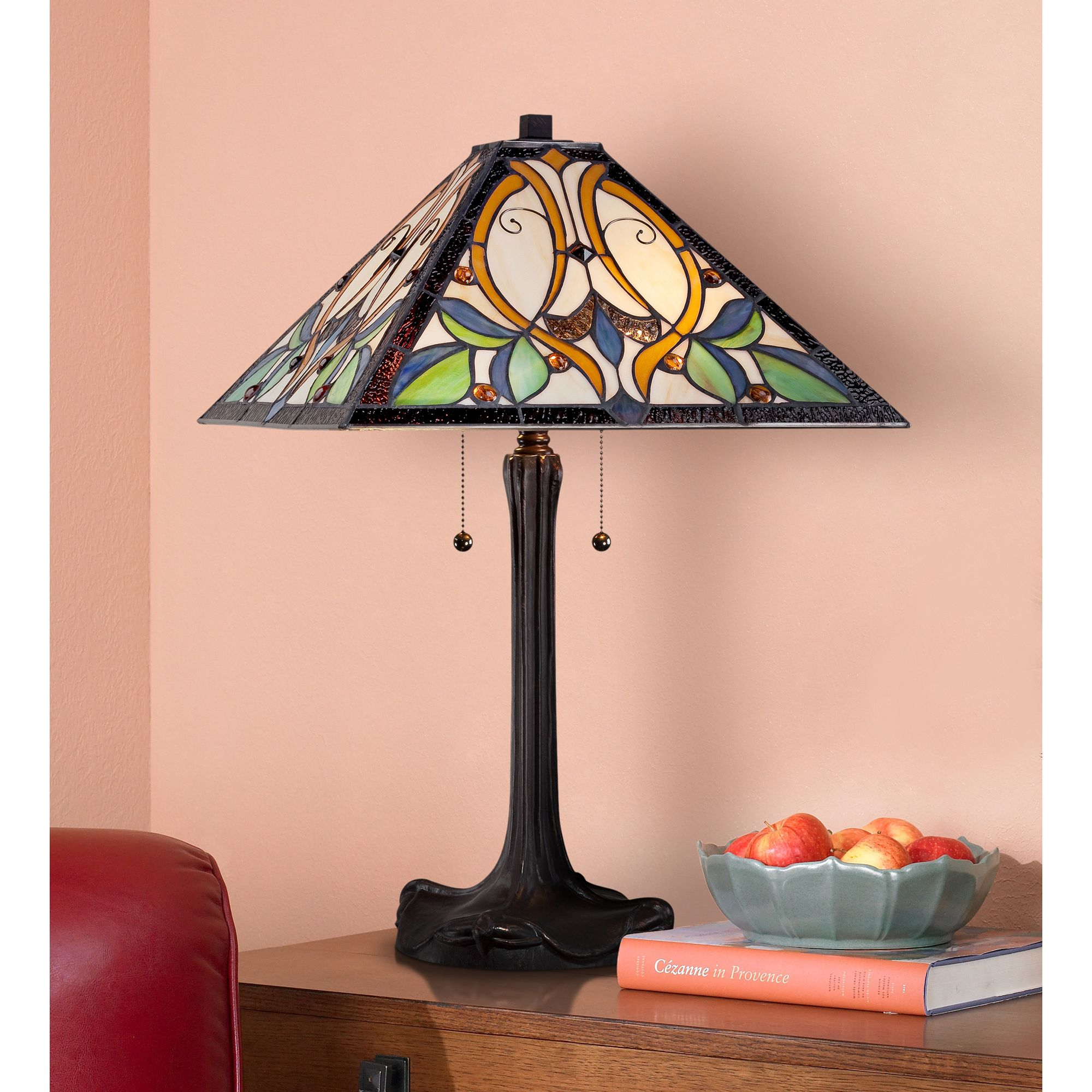 Robert Louis Tiffany Table Lamp Bronze Tiffany Style Stained Glass Art Shade for Living Room Family Bedroom Bedside Nightstand