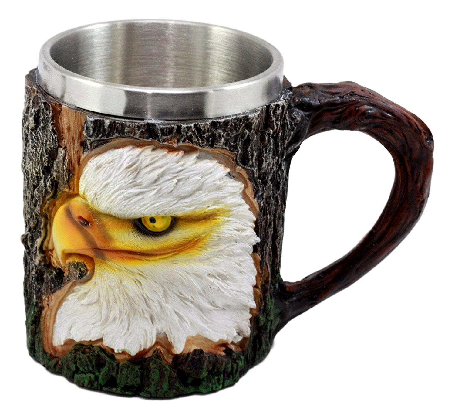 Ebros Nature Wildlife Bald Eagle Coffee Mug With Rustic Tree Bark Design 12oz Drink Beer Stein Tankard Cup