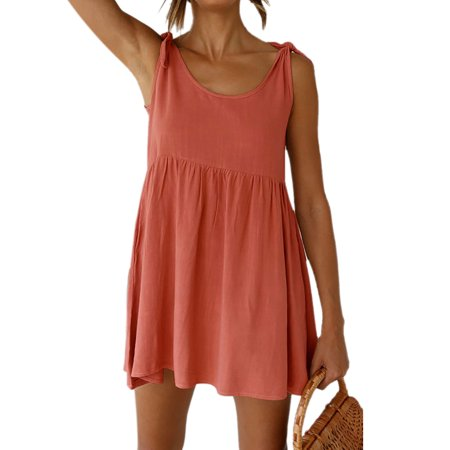 Summer Women Sleeveless Casual Plain Short Mini Dress Ladies Round Neck Cocktail Casual Party Holiday Beach - Net Summer Cocktail