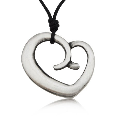Maoiri Love Heart Silver Pewter Charm Necklace Pendant Jewelry With Cotton Cord Love Pewter Charm