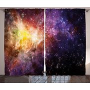 Galaxy Curtains 2 Panels Set, Nebula Gas Cloud Image Bright Starfield Cloud Starry Deep Outer Space Print, Window Drapes for Living Room Bedroom, 108W X 84L Inches, Black Purple Yellow, by Ambesonne