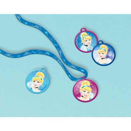 Disney Cinderella Charm Necklace Birthday Party Accessory Favour (12 Pack), Blue/Pink, 6 1/4