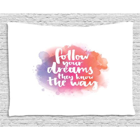 Motivational Tapestry, Quote About Finding Your Way in Life Modern Letters Watercolor Splash, Wall Hanging for Bedroom Living Room Dorm Decor, 60W X 40L Inches, Coral Pink Purple, by - Watercolor Letters