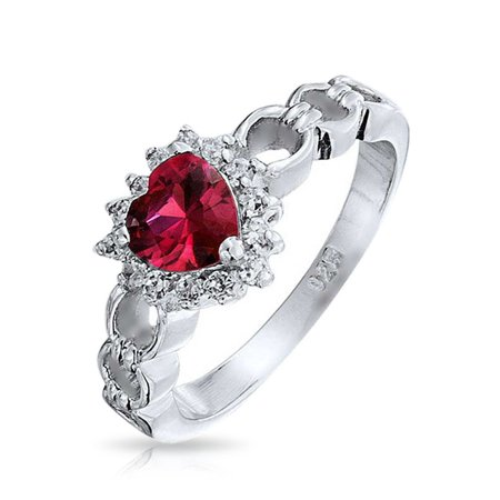 2CT Cubic Zirconia Halo CZ Red Heart Shape Promise Ring For Women For Girlfriend Simulated Ruby 925 Sterling Silver